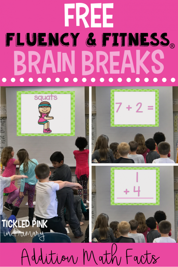 FREE addition math fact fluency and fitness brain break