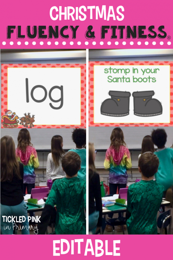 Use this EDITABLE Christmas Fluency & Fitness for brain breaks, math, reading, transitions, inside recess, and more. Simply add your skills and your'e ready to go to get your kids up and moving while learning! #fluencyandfitness #brainbreaks #christmas #classroombrainbreak #kindergarten #firstgrade