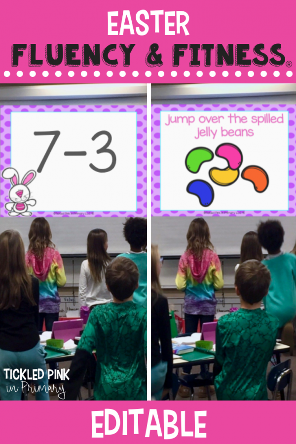 Use this EDITABLE Easter Fluency & Fitness for brain breaks, math, reading, transitions, inside recess, and more. Simply add your skills and your'e ready to go to get your kids up and moving while learning! #fluencyandfitness #brainbreaks #classroombrainbreak #kindergarten #firstgrade