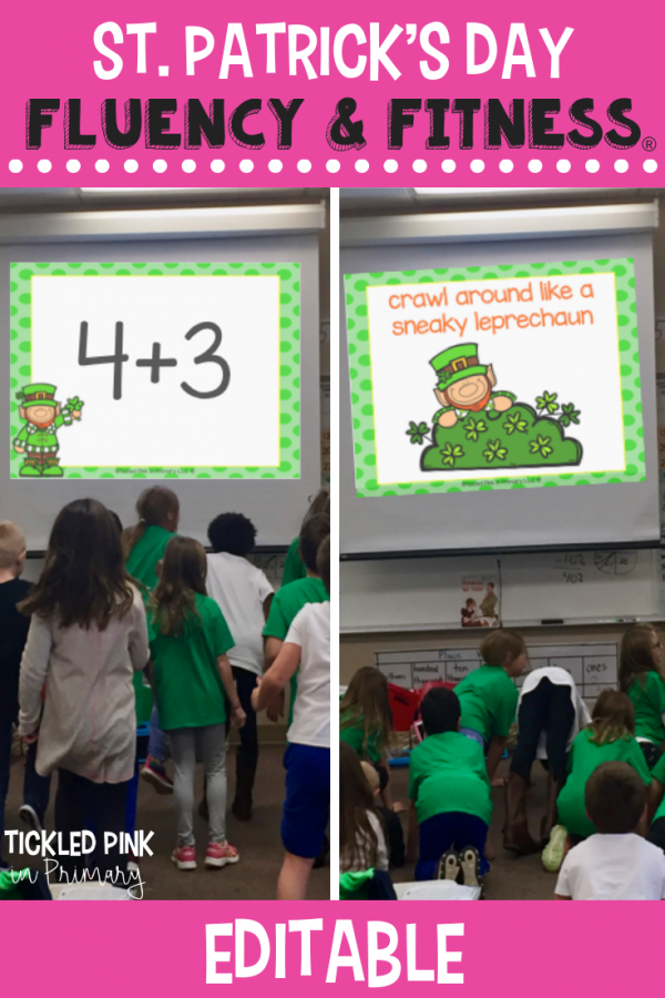 Use this EDITABLE St. Patrick's Day Fluency & Fitness for brain breaks, math, reading, transitions, inside recess, and more. Simply add your skills and your'e ready to go to get your kids up and moving while learning! #fluencyandfitness #brainbreaks #stpatricksday #classroombrainbreak #kindergarten #firstgrade
