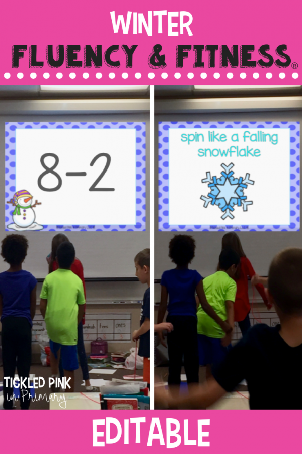 Use this EDITABLE Winter Fluency & Fitness for brain breaks, math, reading, transitions, inside recess, and more. Simply add your skills and your'e ready to go to get your kids up and moving while learning! #fluencyandfitness #brainbreaks #winter #classroombrainbreak #kindergarten #firstgrade