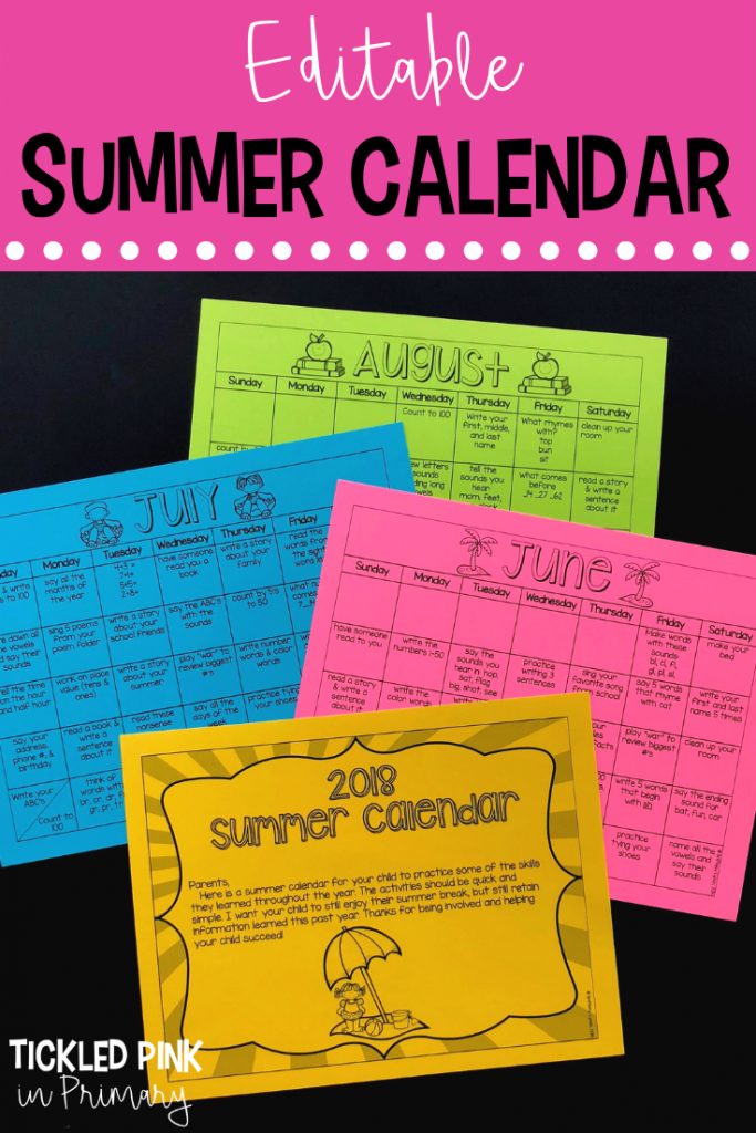 Help students keep learning over Summer break with this EDITABLE summer calendar. Click to learn more. #summercalendar #summerslide #endoftheyear #kindergarten #firstgrade