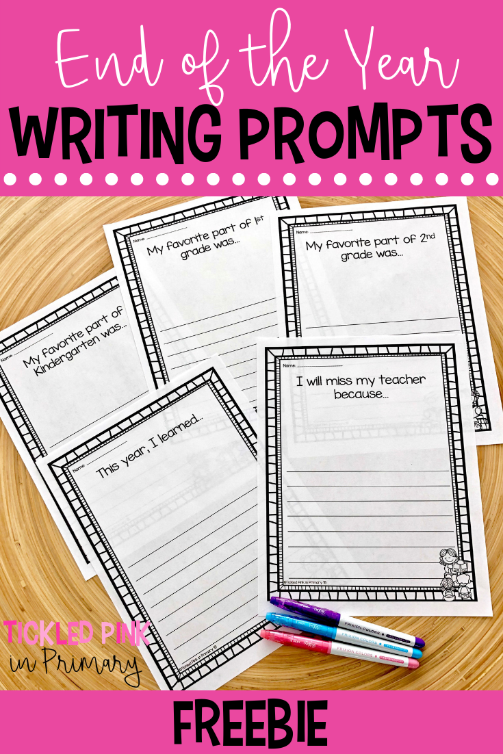 5 writing prompts papers on a table