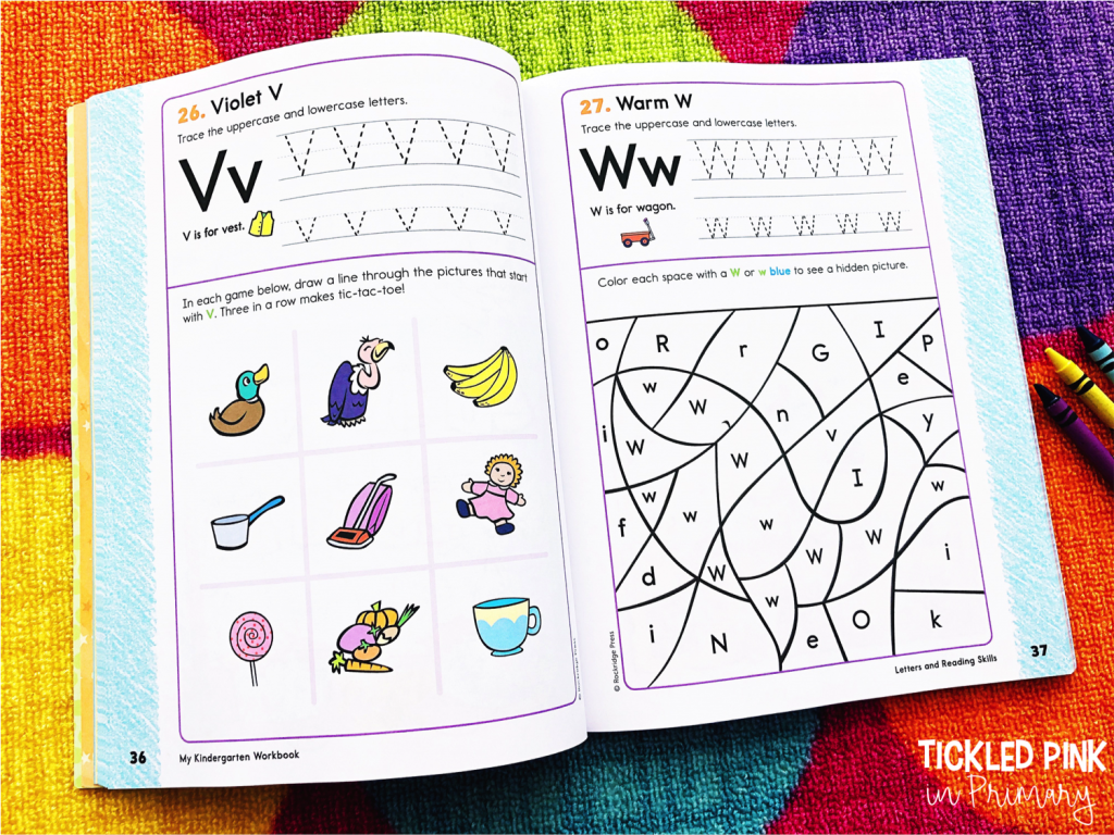 alphabet activities from a book made for Kindergarten aged kids
