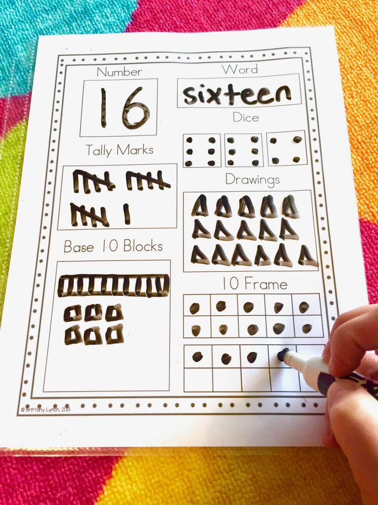 worksheet showing all the ways to make 16
