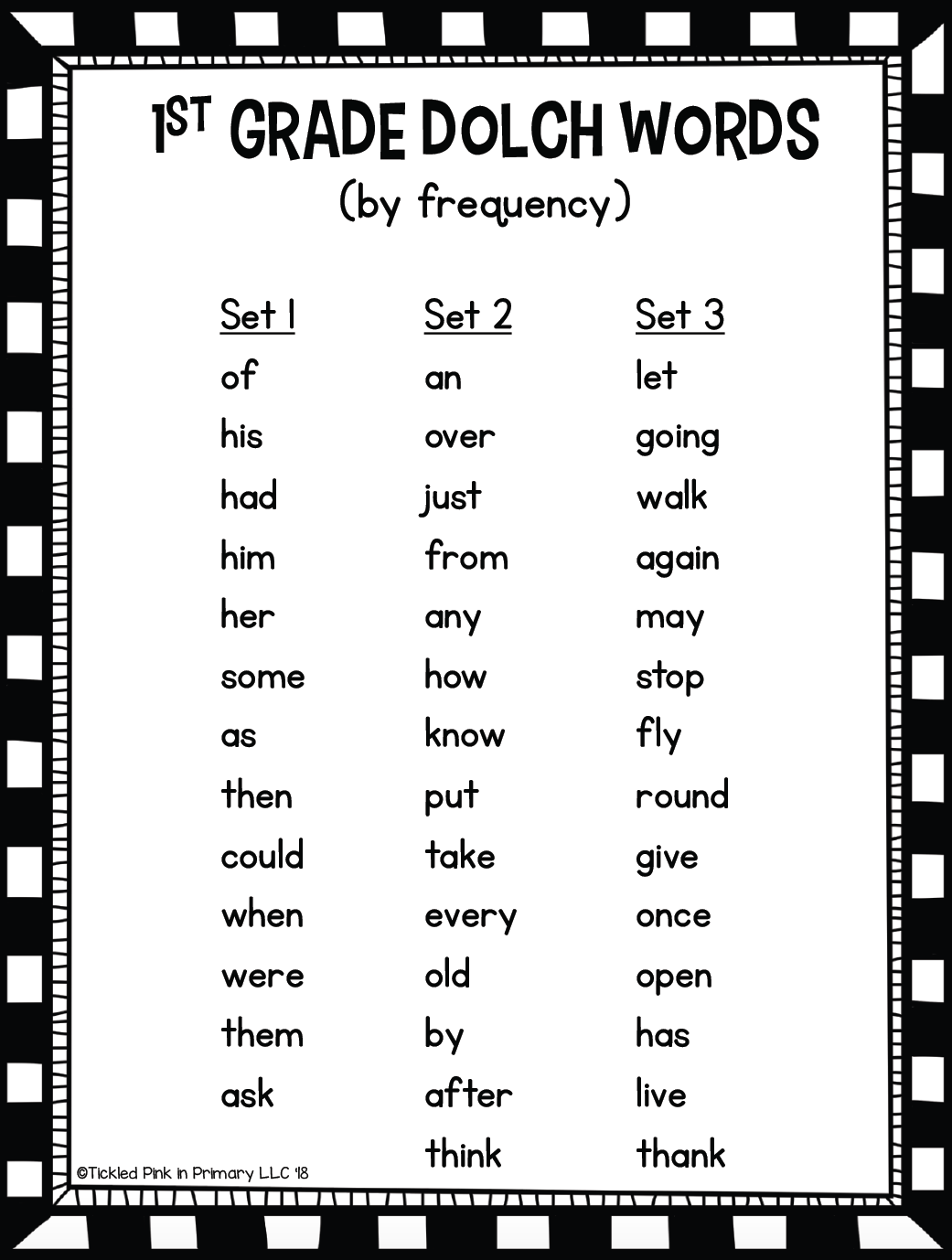 Dolch First Grade Sight Words Fluency Find It • Tickled ...
