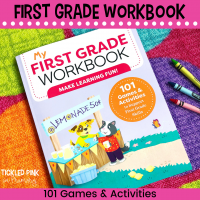 picture of my first grade workbook on a polka dot rug