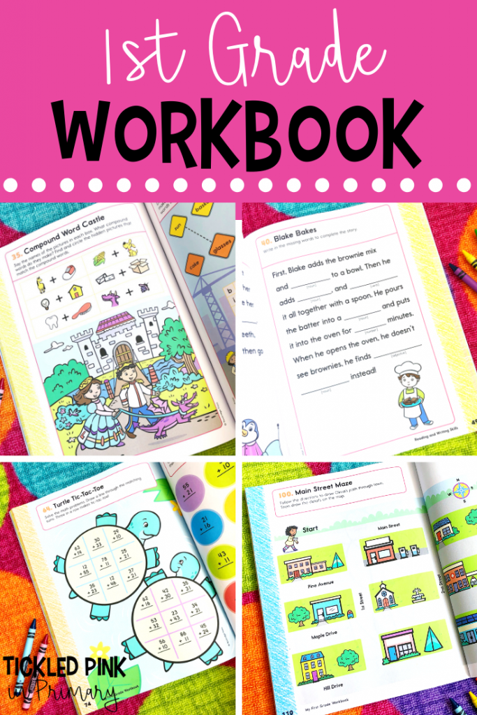 pictures of the pages from a workbook for first graders