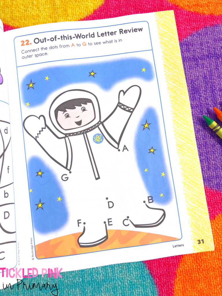 astronaut dot to do activity from my preschool workbook