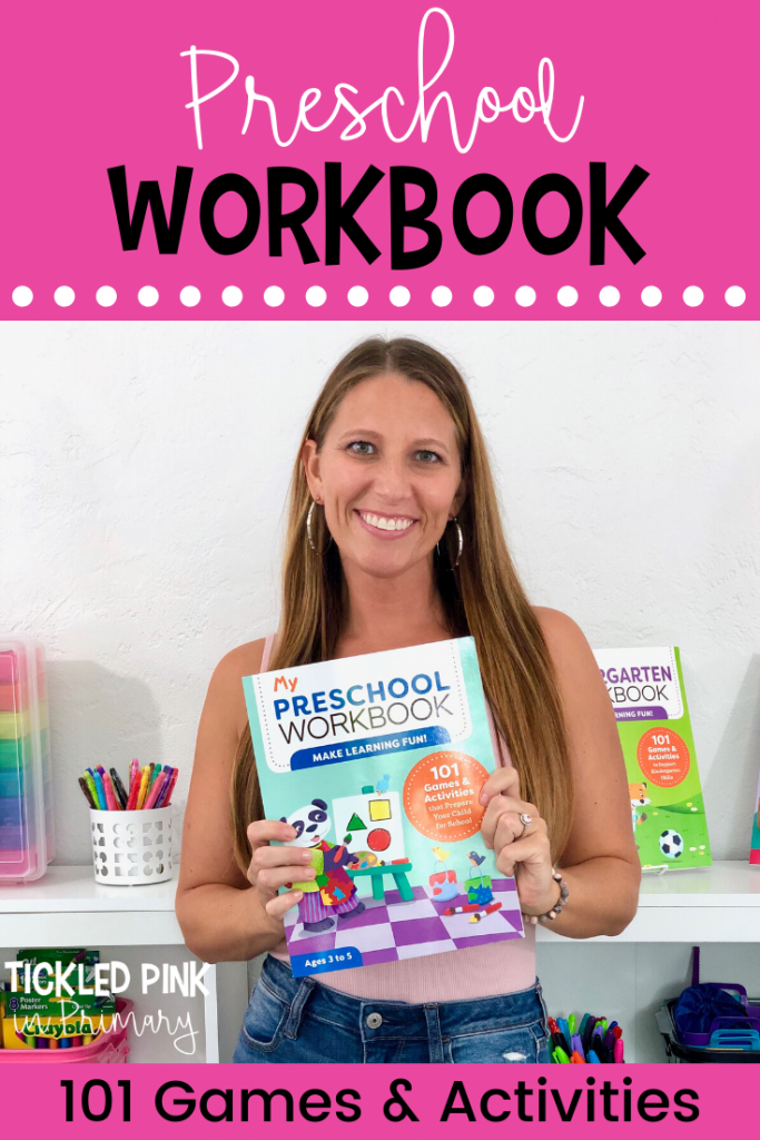 author holding her book My Preschool Workbook