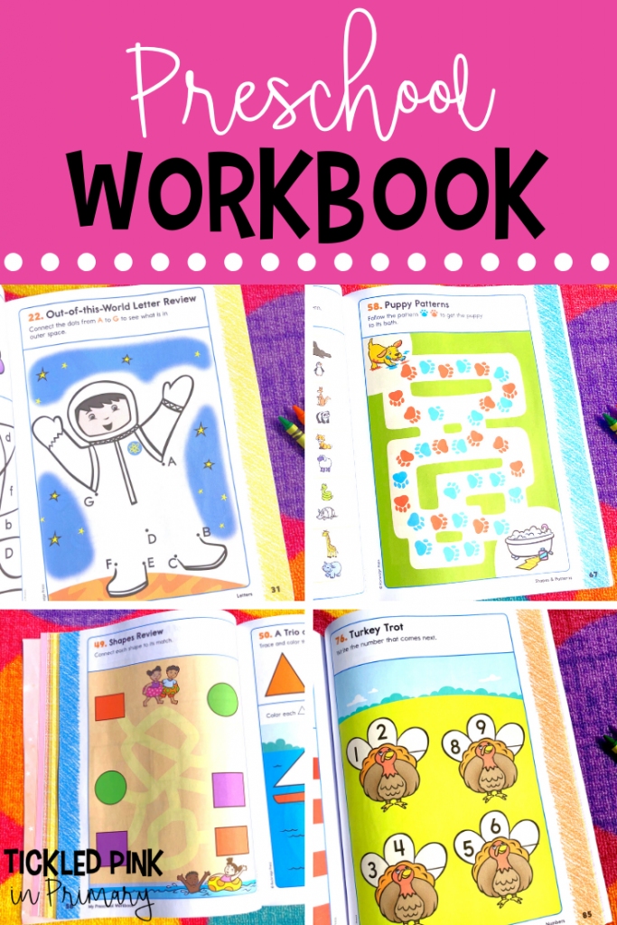 inside pages of activities from a workbook for preschoolers