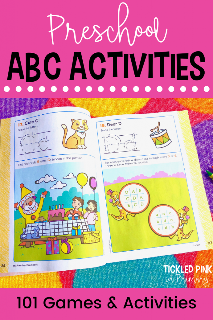 workbook pages showing alphabet activities