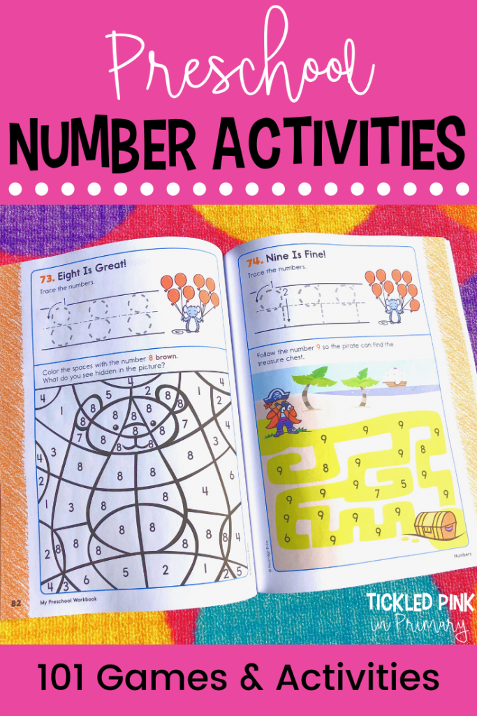 number activities in a preschool workbook