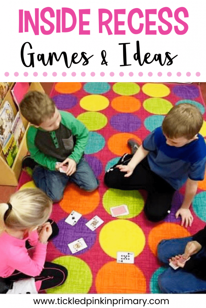 students playing a card game for inside recess