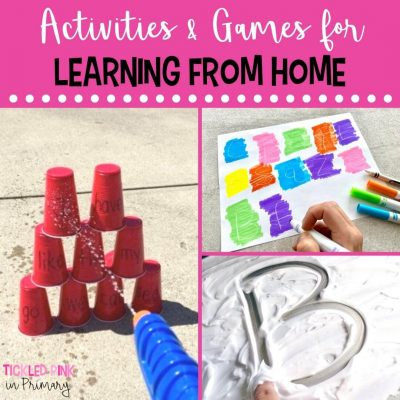 collage of games that you can do at home to keep your child learning