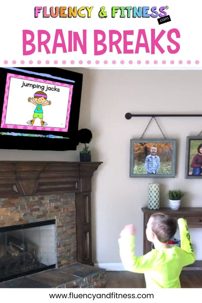 boy using a Fluency & Fitness brain break while learning at home and doing jumping jacks shown on the tv screen