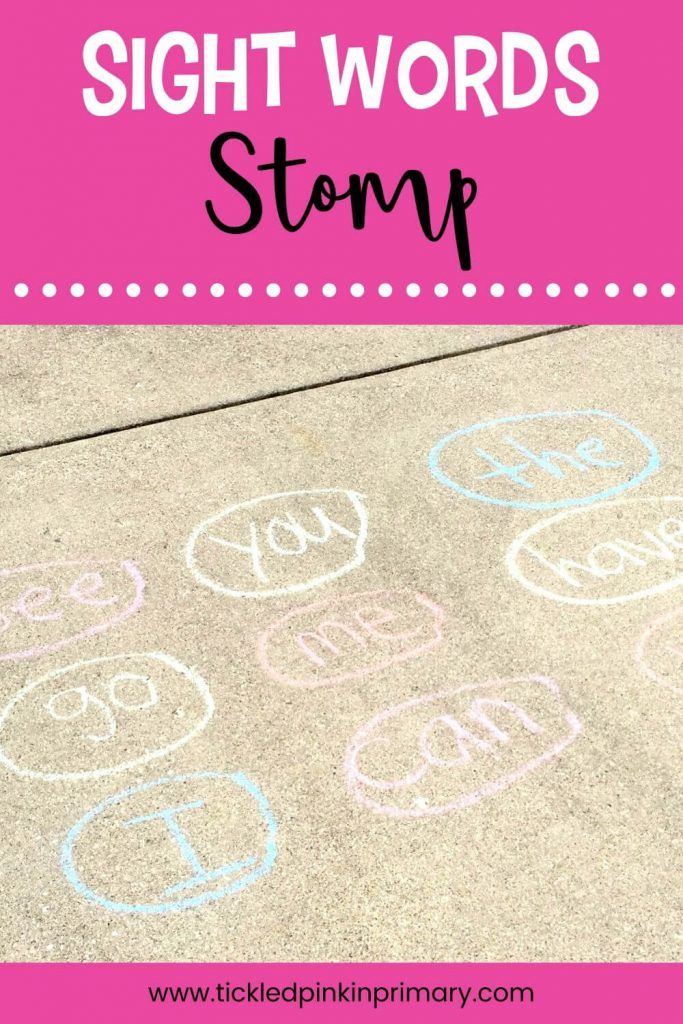 sight words written in sidewalk chalk on the driveway for learning from home