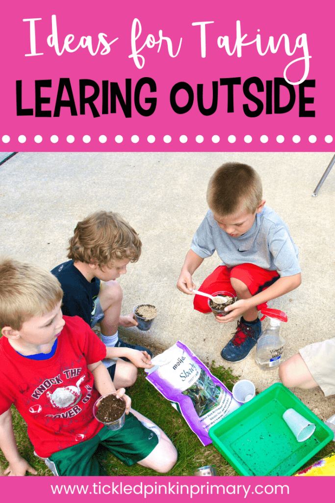 3 kids putting grass seed in cups of dirt for science outdoor learning activities