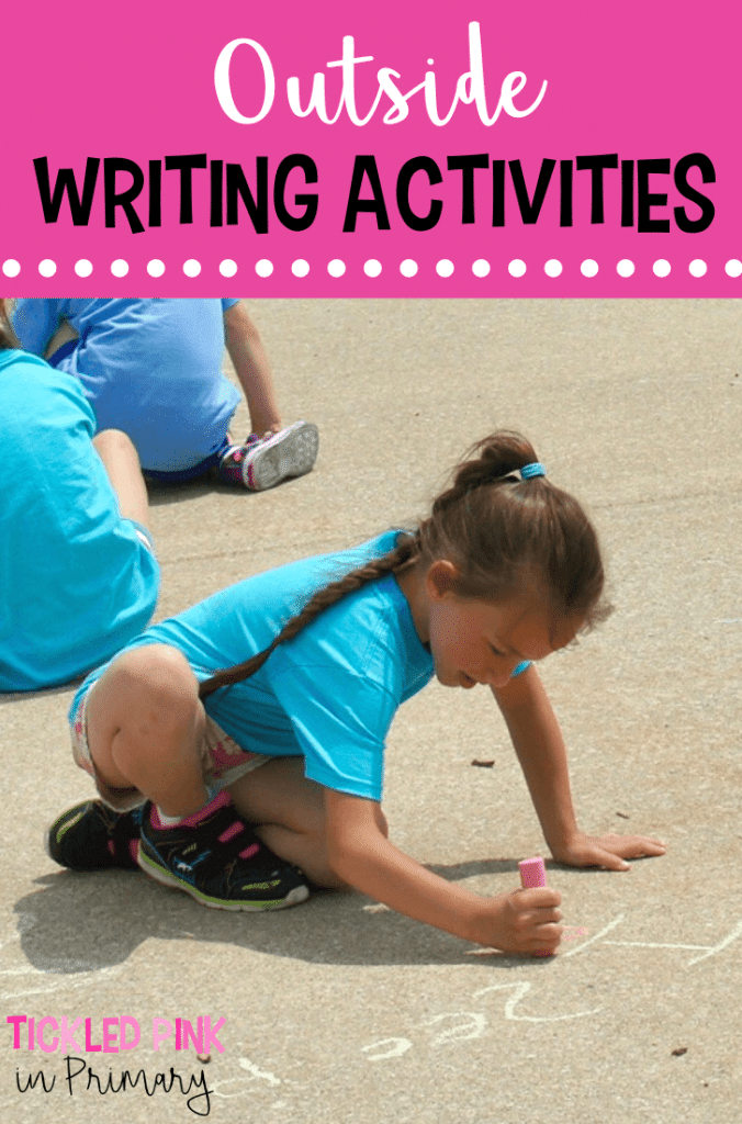 kid writing sentences on pavement with sidewalk chalk for outdoor learning