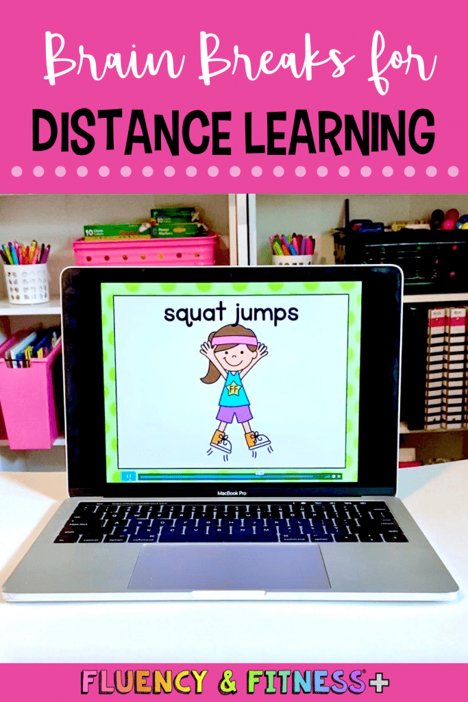 Squat jumps as a brain break on the computer for distance learning
