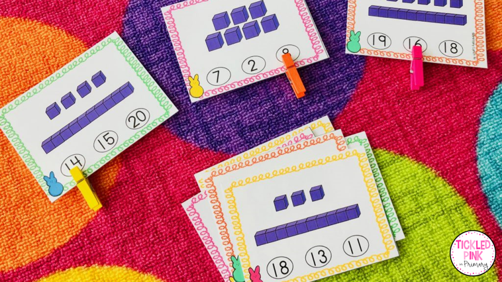 Easter themed place value clip cards
