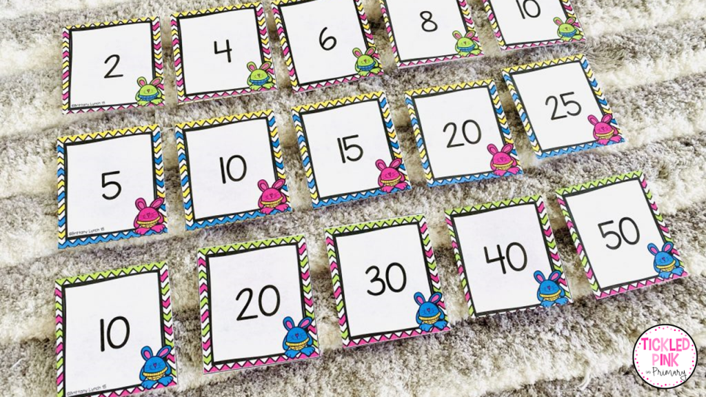 kids put the Easter Bunny themed cards in order while skip counting by 2's, 5's, and 10's