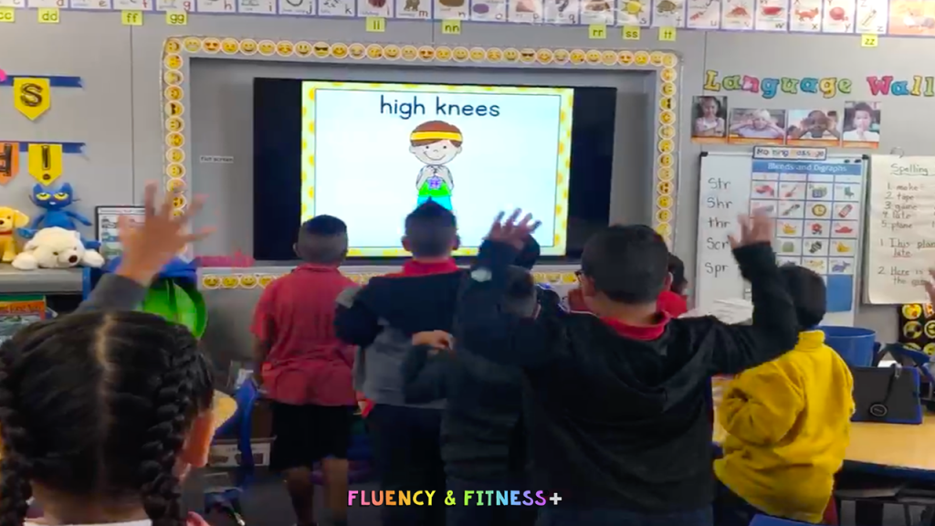 students getting in a brain break doing exercises