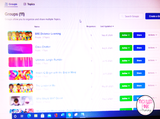Flipgrid grids on the virtual learning app with videos