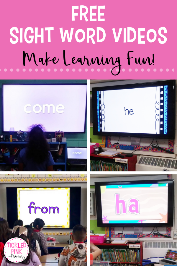 students playing along with a sight word video