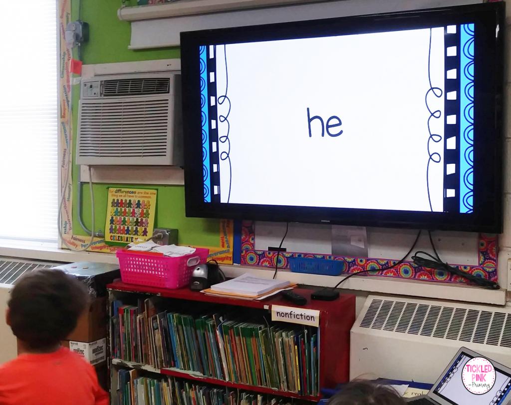 Kids participating in Sandz Academy's free interactive Kindergarten Sight word video.