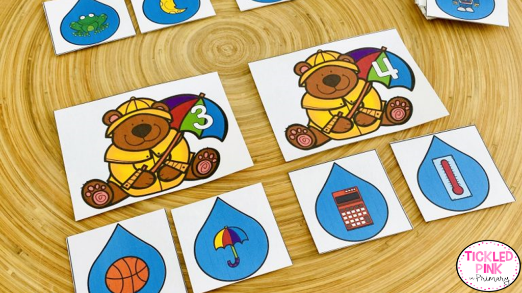 kids sort images by the number of syllables in the picture depicted