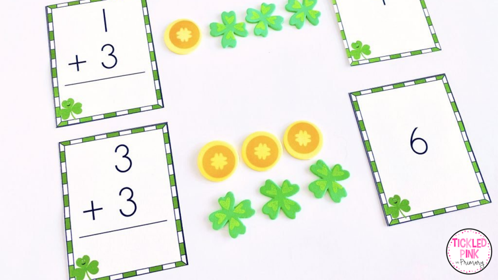 Kids using counters to practice addition and subtraction facts. St. Patrick's day themed flash cards.