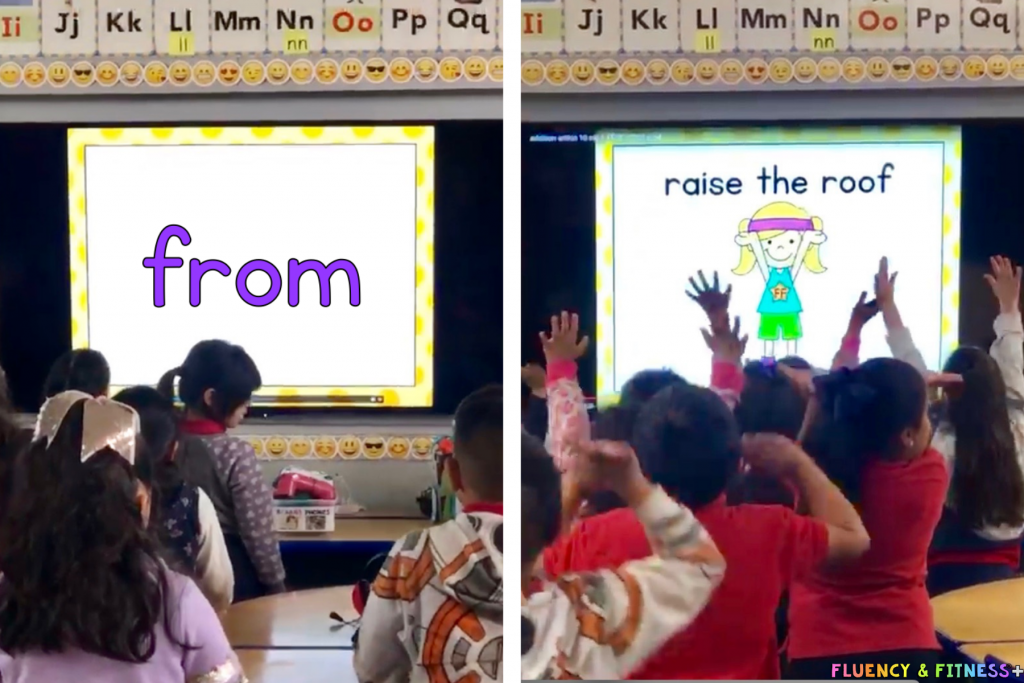 students playing along with a sight word video and doing exercises for a brain break too