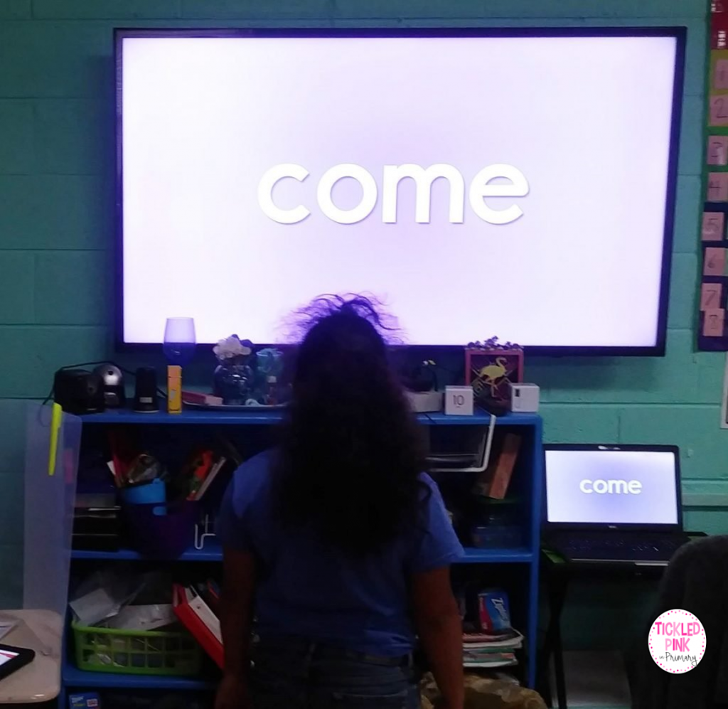 Kids practicing sight words with free interactive video