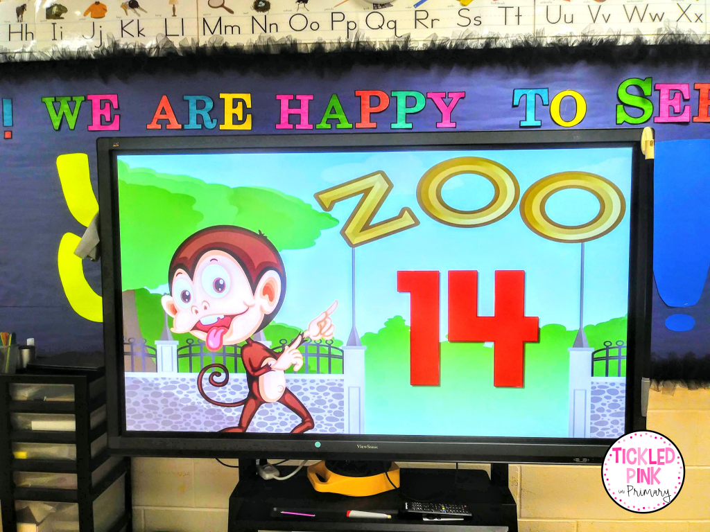 Math fun counting to 100 while moving like the animals at the zoo!