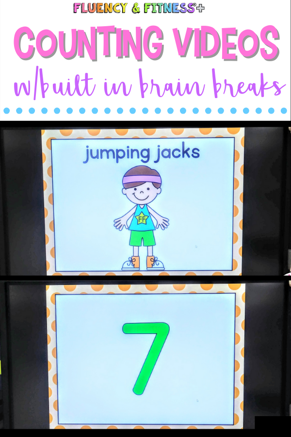 classroom board with fluency and fitness which works on counting and brain breaks