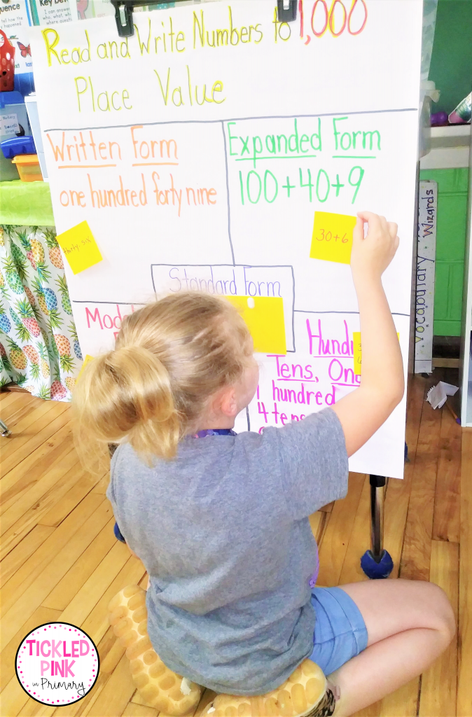 Student adding response on a sticky note to a place value anchor chart during a math lesson.