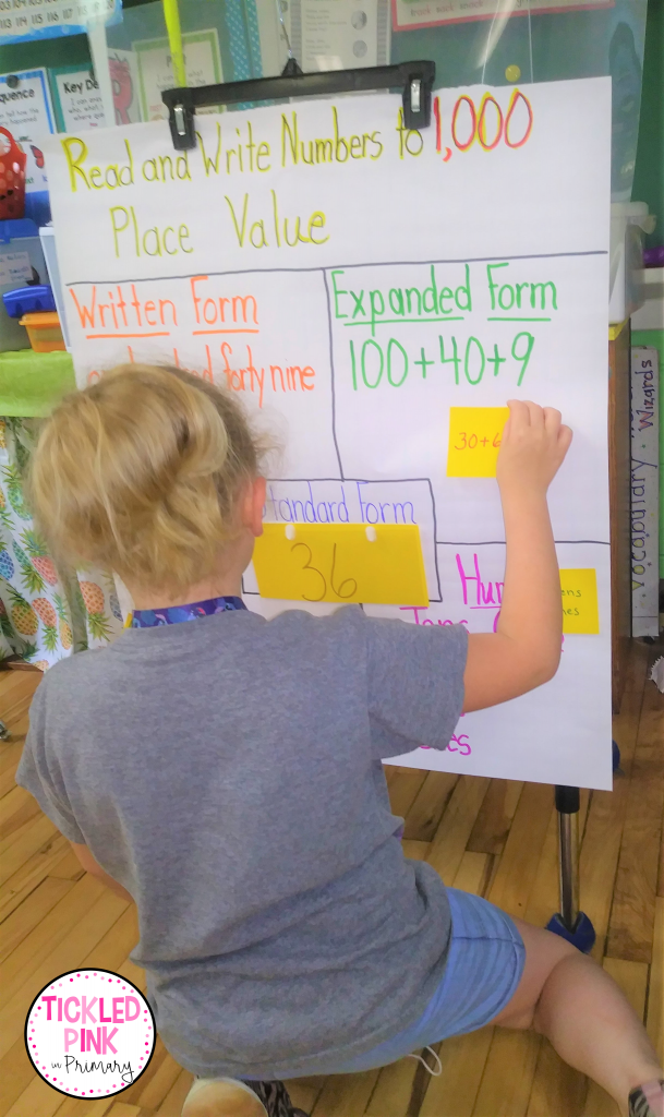 Student participating in place value activity using a read and write numbers to 1,000 anchor chart.