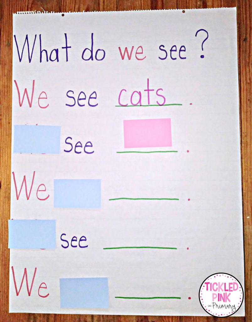Sight word reading anchor chart for Kindergarten.