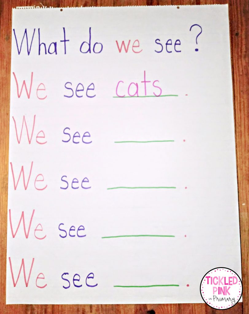 Sight word literacy anchor chart for K-2 classrooms.