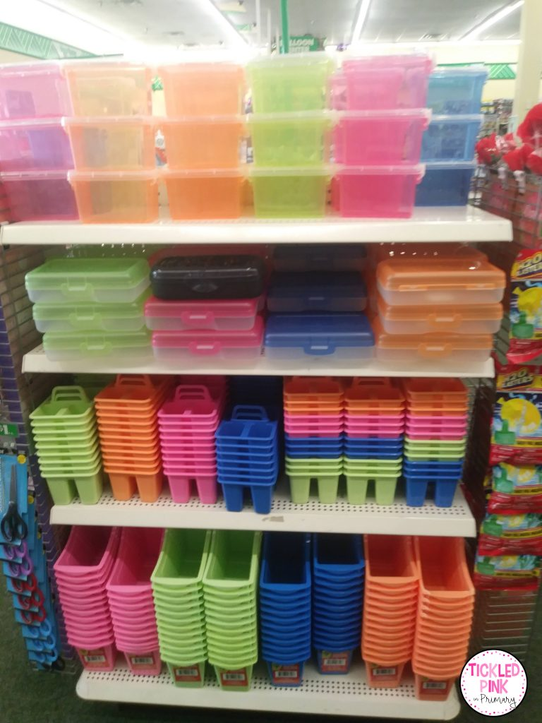 Bright colored containers at the Dollar Tree.