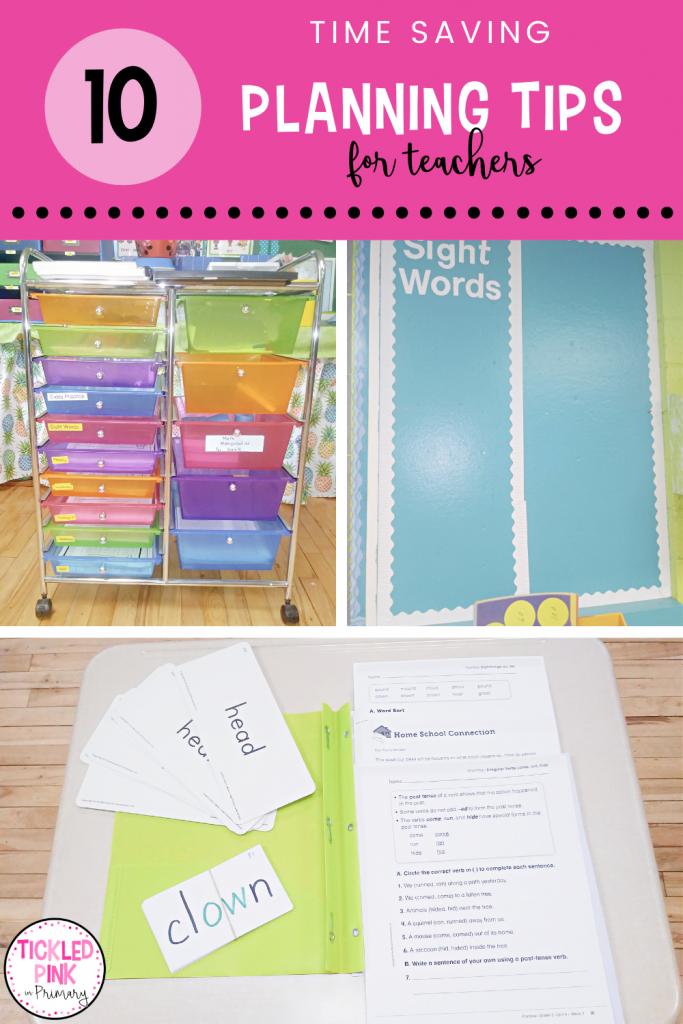 Time saving planning tips for teachers.