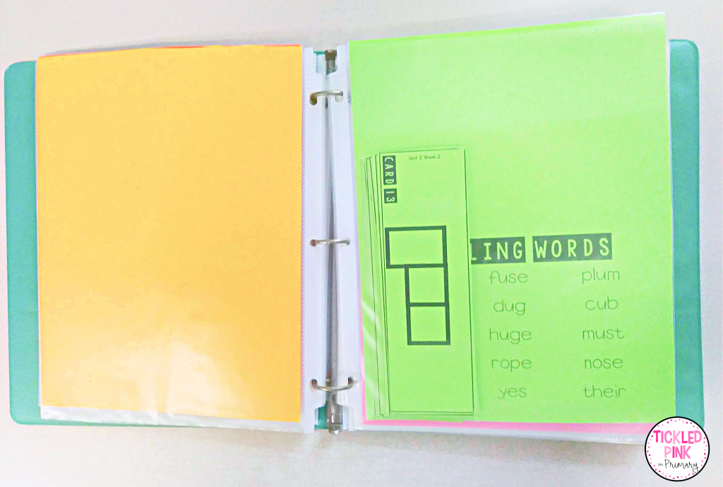 Store center materials in plastic sleeves in a three-ring binder for easy access to save time when lesson planning in the classroom.