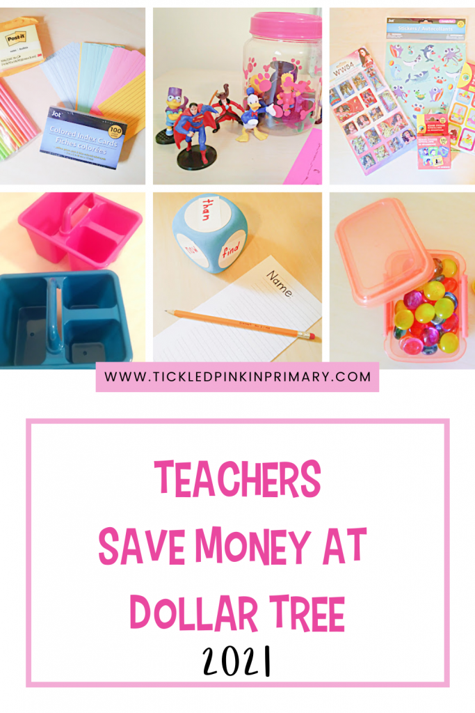 Teachers save money shopping at Dollar Tree for classroom materials.