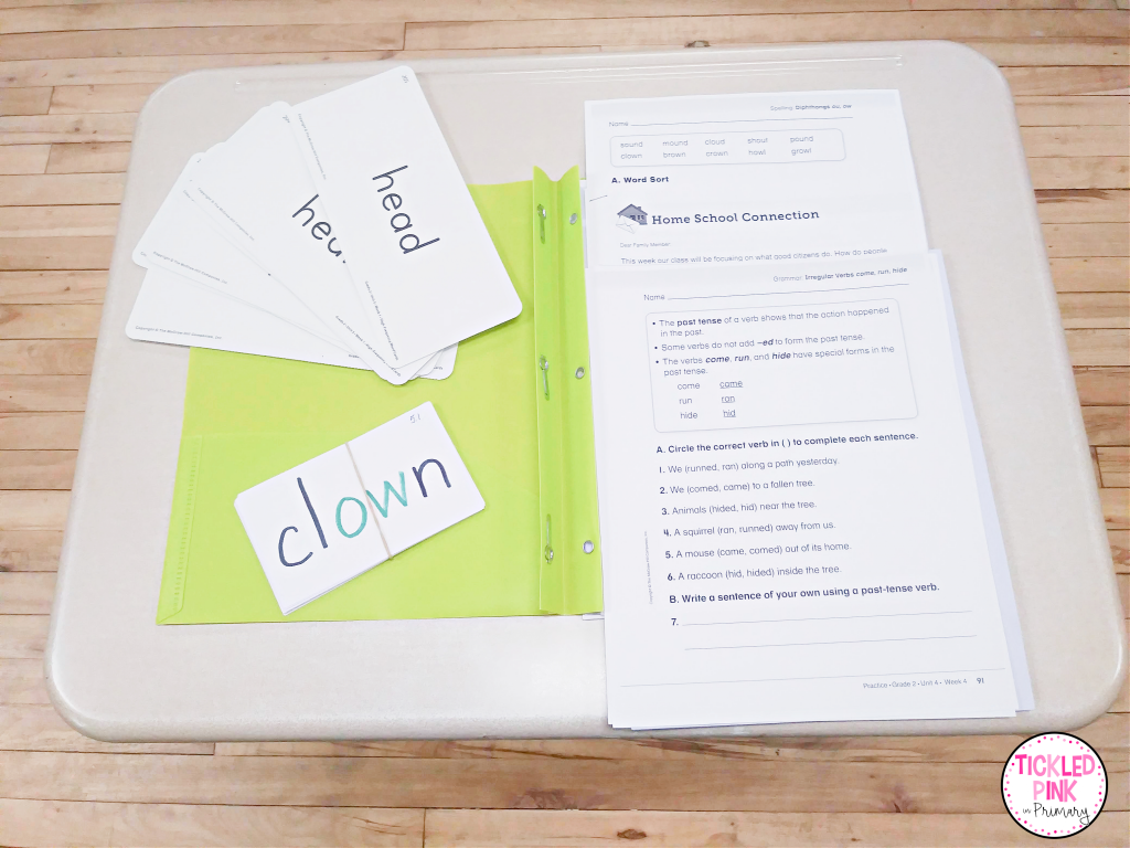 Unit materials stored in files to save teacher's time when planning lessons.