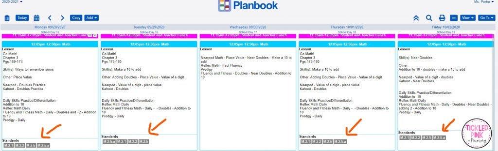 Standards listed inside of lesson plans in planbook.com.
