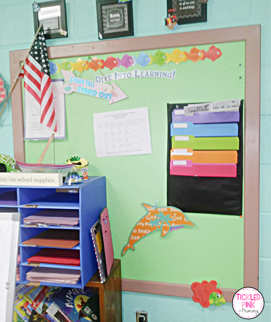Teachers can use paint on bulletin boards to save time planning throughout the year in the classroom.