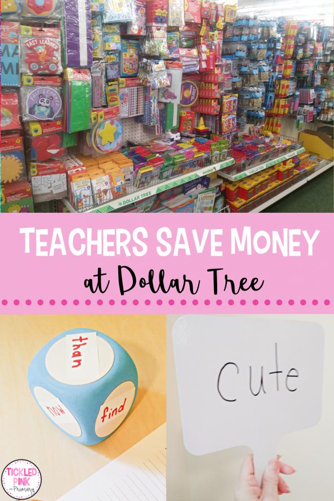Teachers save money shopping at Dollar Tree,