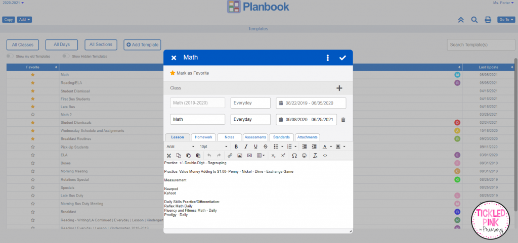 Time saving templates for teachers planning with planbook.com.