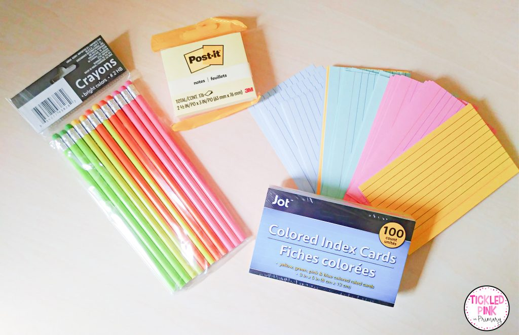 Pencils, colored index cards, post it notes, from dollar tree,